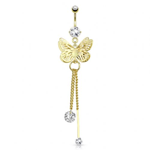 Gold Plated Butterfly Belly Bar with CZ Gems and Chain Dangle